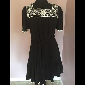 NWOT Kate Spade Black Embroidered Cotton Dress M